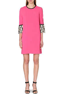 ISSA Polka dot cuff crepe dress