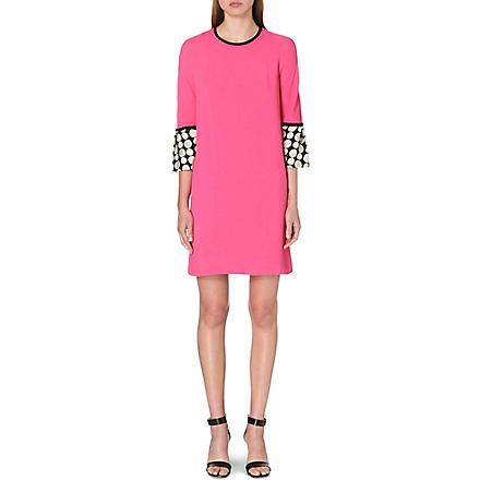 ISSA Polka dot cuff crepe dress (Pink