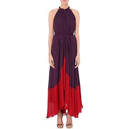 SALONI Iris crepe dress (Aubergine/wine red