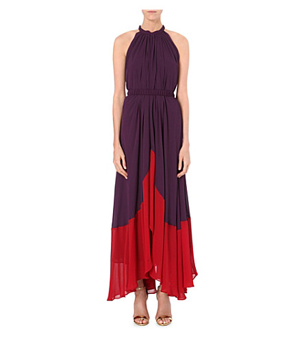 SALONI Iris crepe dress (Aubergine/wine red