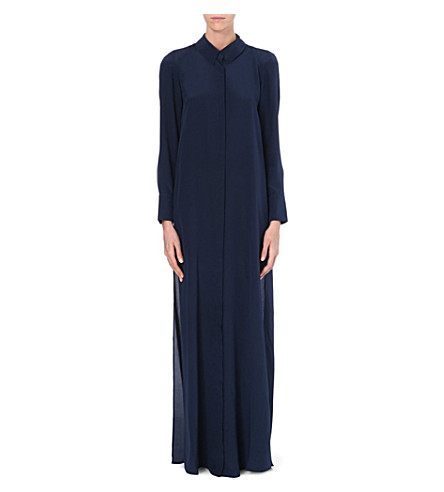 SALONI Full-length silk shirt dress (Navy