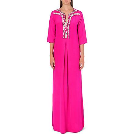SALONI Joanna silk kaftan gown (Fuscha (emb)