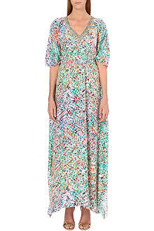 SALONI Printed silk-crepe long kaftan