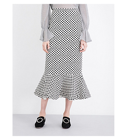 SALONI Portia polka dot-print stretch-crepe midi skirt (Ivory polka large