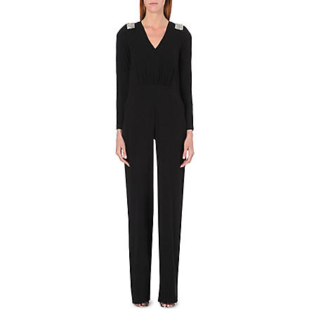 SALONI Embellished crepe jumpsuit (Black
