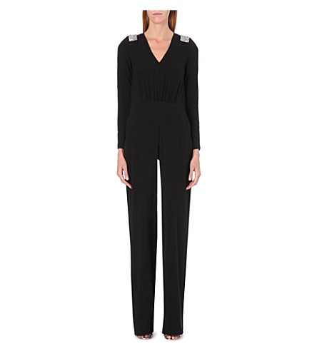 SALONI Embellished crepe jumpsuit (Black