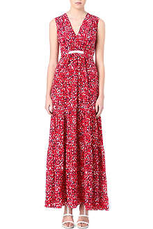 SALONI Printed silk-blend maxi dress
