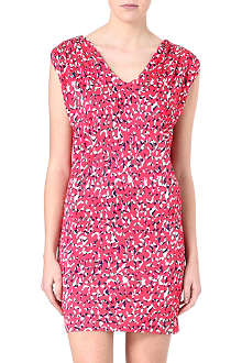 SALONI Printed ruched jersey dress