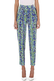 SALONI Slouchy diamond-print trousers