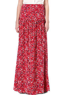 SALONI Laila pleated silk maxi skirt