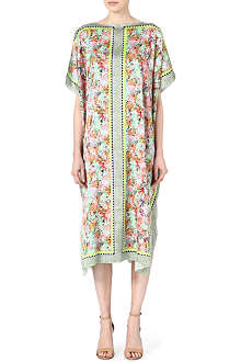 SALONI Printed silk kaftan dress