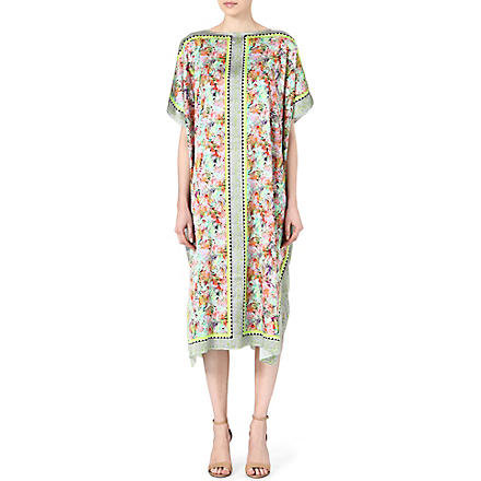 SALONI Printed silk kaftan dress (Jungle