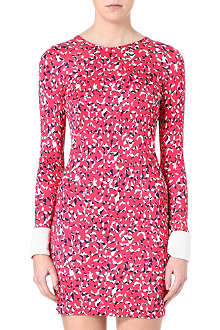 SALONI Printed long-sleeved jersey dress
