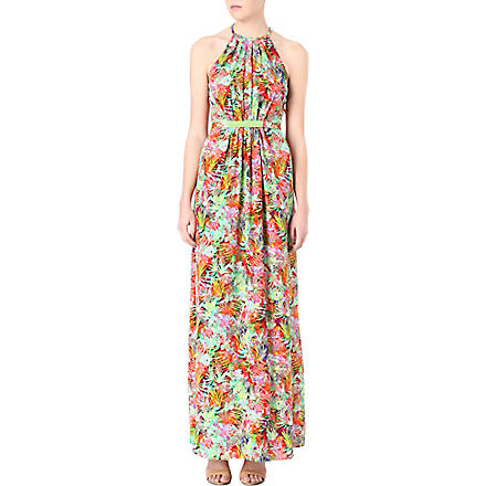 SALONI Floral halterneck dress (Jungle