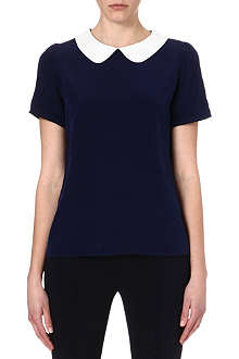 SALONI Navy silk top