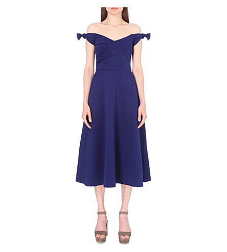SALONI Off-the-shoulder neoprene dress (Navy