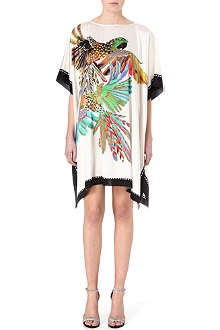 SALONI Parrot-print silk-blend kaftan dress