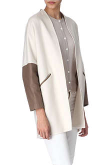 AGNONA Leather-sleeves coat