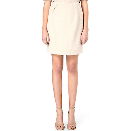 AGNONA Textured wool skirt (Cream