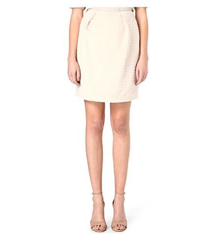 AGNONA Textured wool skirt (Cream