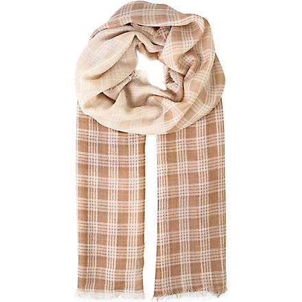 AGNONA Checked silk scarf (Beige