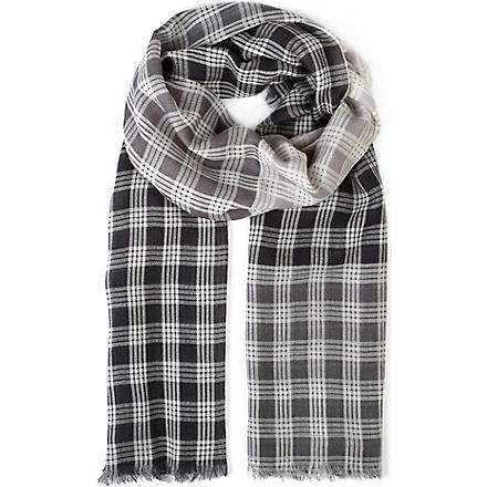 AGNONA Checked silk scarf (Grey