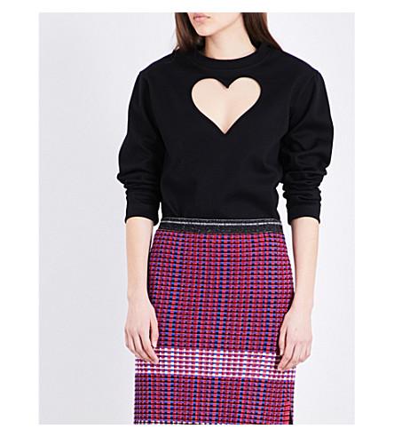 PROENZA SCHOULER Heart cutout cotton-jersey sweatshirt (Black