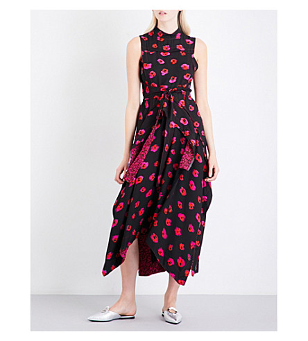 PROENZA SCHOULER Abstract pumpkin-print high-neck crepe dress (Black/pink/pumpkin+print