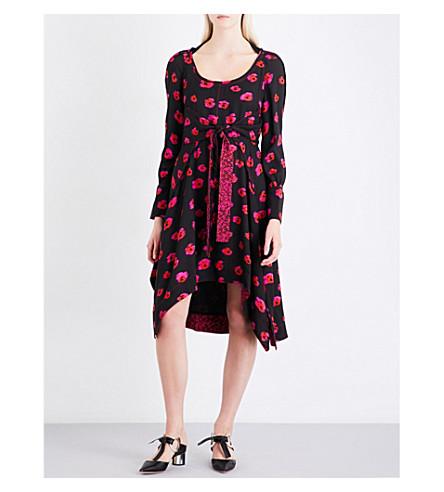 PROENZA SCHOULER Abstract pumpkin-print scoop-neck crepe dress (Black
