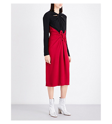 PROENZA SCHOULER Knot-detail fitted silk-crepe dress (Magenta/black