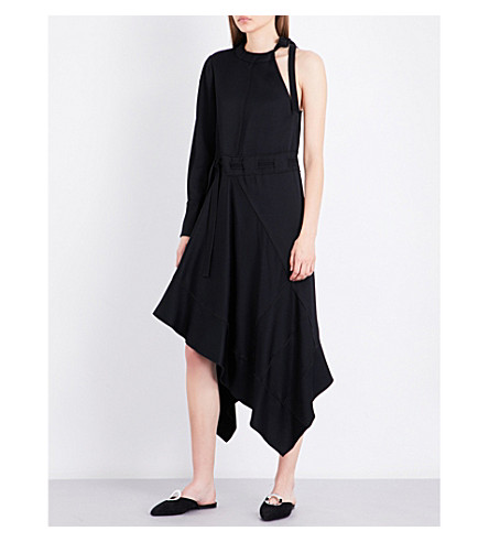 PROENZA SCHOULER One-shouldered woven dress (Black