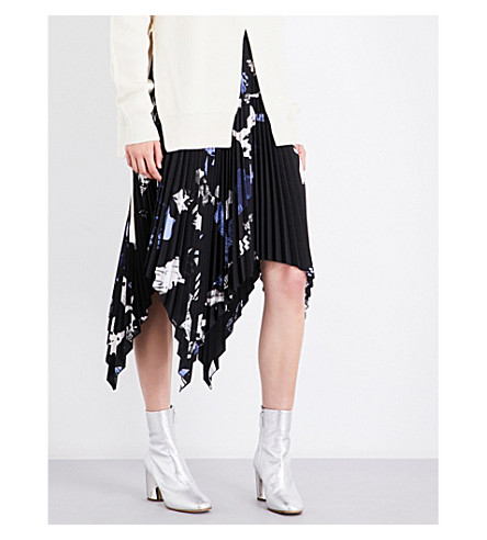 PROENZA SCHOULER Floral-print pleated skirt (Black/blue/white+collage