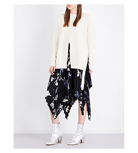 PROENZA SCHOULER Split-front knitted wool and cashmere-blend jumper (Off+white
