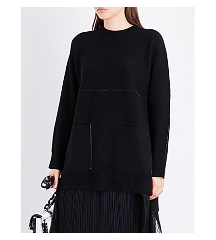 PROENZA SCHOULER Pocket-detailed knitted cashmere-blend jumper (Grey+melange/off+white