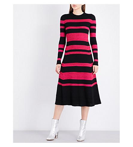 PROENZA SCHOULER Striped knitted wool-blend dress (Balck/electric+pink