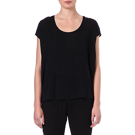 ALASDAIR Short-sleeved silk top (Black