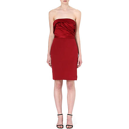 NOTTE BY MARCHESA Strapless silk dress (Crimson
