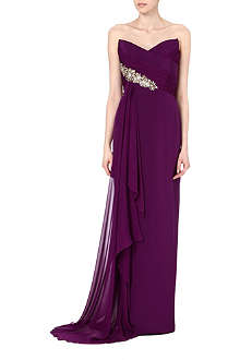 NOTTE BY MARCHESA Embellished strapless silk gown