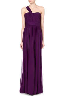 NOTTE BY MARCHESA Asymmetric silk-chiffon gown