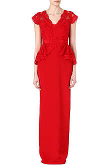 NOTTE BY MARCHESA Silk lace peplum gown