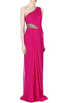 NOTTE BY MARCHESA Embellished one-shoulder gown