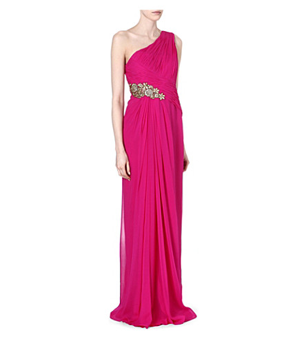 NOTTE BY MARCHESA Embellished one-shoulder gown (Pink