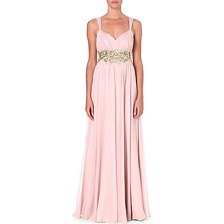 NOTTE BY MARCHESA Embellished silk gown (Oyster