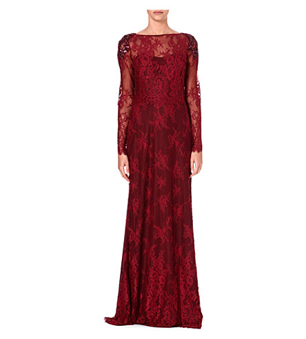 NOTTE BY MARCHESA Embellished long-sleeved lace gown (Burgundy