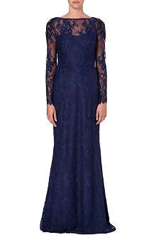 NOTTE BY MARCHESA Embellished long-sleeved lace gown
