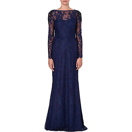 NOTTE BY MARCHESA Embellished long-sleeved lace gown (Blue
