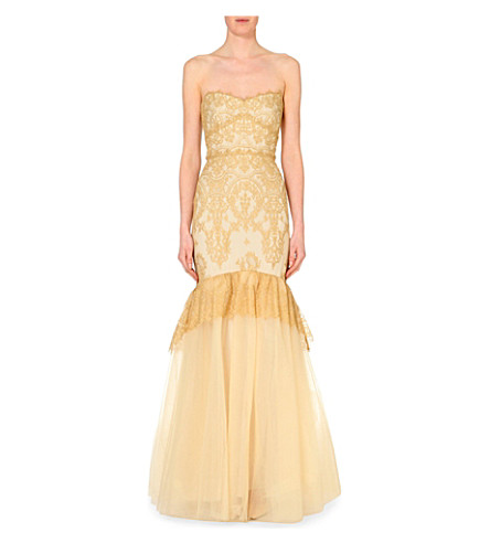 NOTTE BY MARCHESA Strapless lace gown (Poppy