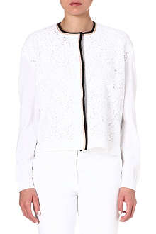 NO. 21 Lace-panel cotton cardigan