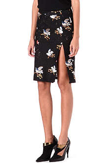 NO. 21 Lace bird-motif pencil skirt