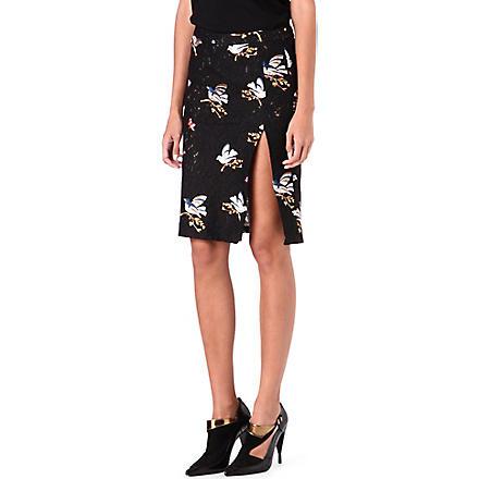 NO. 21 Lace bird-motif pencil skirt (Black